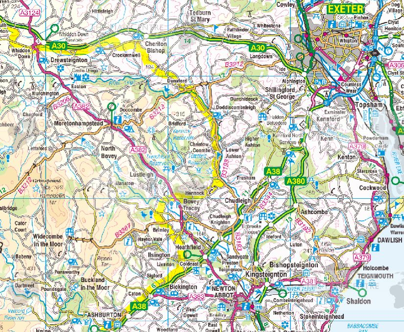 Map Of England Roads.7 Ordnance Survey Road Map South West England South Wales Wall Map